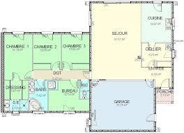 plan de maison de plain pied avec 4 chambres plan maison plain pied 3 chambres 1 bureau plan de maison plan