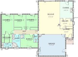 plan maison plain pied en l 4 chambres plan maison plain pied 3 chambres 1 bureau plan maison 3 chambres