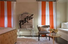 Orange And White Curtains Orange Curtains Eclectic Bedroom Jarlath Mellett