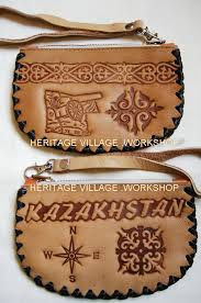 leather purse with kazakhstan ornament kazakhstan handmade