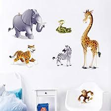 stickers animaux chambre bébé decalmile stickers animaux dessin animé singe zèbre girafe elephant