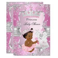 pink and silver baby shower pink silver princess baby shower ethnic card zazzle