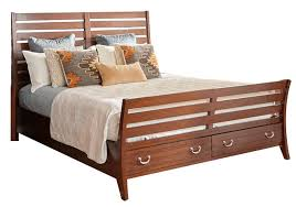 Sleigh Bed With Drawers Juniper Cherry 3 Pc King Storage Sleigh Bed Badcock Home