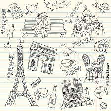 sightseeing in paris doodles stock vector colourbox