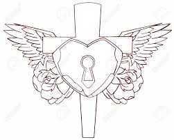 cross with heart padlock roses and wings tattoo stencil stock