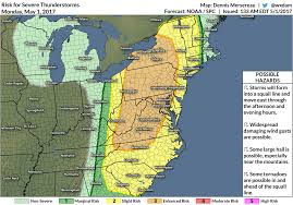 Northeast Map There U0027s An Enhanced Risk For Severe Thunderstorms In The Northeast