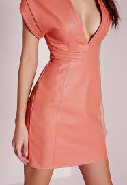 faux leather bodycon dress pink missguided