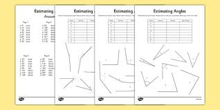 estimating angles activity sheet estimating angles activity