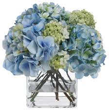 hydrangea bouquet blooms blue hydrangea and snowball bouquet contemporary