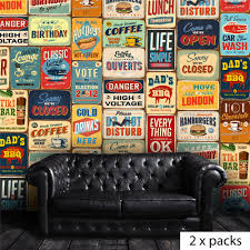 wall stickers uk wall art stickers kitchen wall stickers wf10001 vintage metal sign x 2 packs