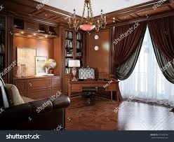 Home Office Interior Home Office Interior Design Classic Style Stock Illustration