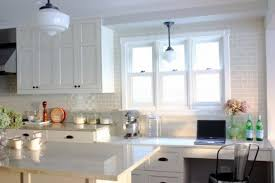 brick backsplashes for kitchens kitchen white brick wall backsplash white modern pendant