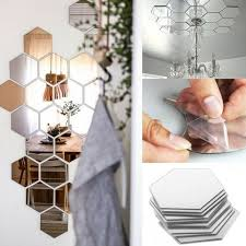 interior design decorating for your home 12 pcs hexagonal shape self adhesive mirror stickers diy your