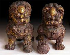 small foo dogs carved wooden gilt thai style foo dogs c style
