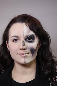 half face skull halloween makeup video tutorial u2013 halloweenmakeup com