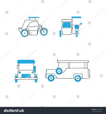 jeepney drawing common public transportation philippines jeepney tricycle stock