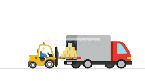 forklift loader load boxes into a truck animation concept