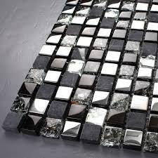 black glass tiles for kitchen backsplashes tst glass tiles black grey squared grid marble kitchen