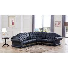 Black Sectional Sofas Versachi Sectional Sofa Black Esf Furniture Modern Manhattan