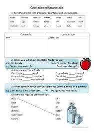 countable u0026 uncountable foods worksheet free esl printable