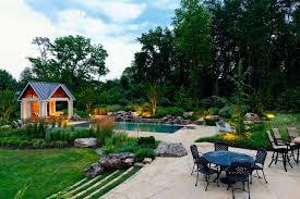 Houzz Backyards Houzz Backyard Landscape Transitional With Garden Lighting Fire