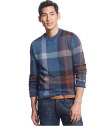 Big And Tall For Mens Clothes Tommy Hilfiger Big U0026 Tall John Plaid Sweater In Blue For Men Lyst