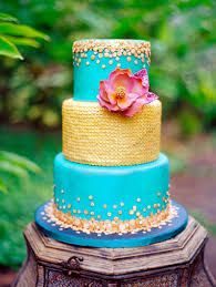 3 tier aqua and gold moroccan themed sequin wedding cake by a