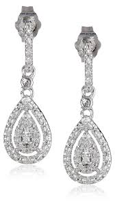 drop diamond earrings sterling silver and diamond drop earrings 0 14 cttw