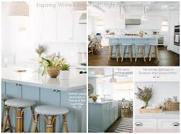 Blue Kitchen Island Inspiring White Kitchen With Light Blue Island The Combination Of