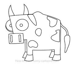 coloring page cow cartoon drawing face cute cows coloring page