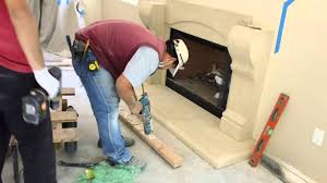 how to install a cast stone fireplace mantels over a prefab