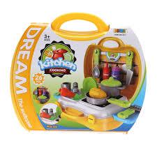 kit de cuisine pour enfant 26 pcs en plastique cuisine cuisine jouet pour filles portable