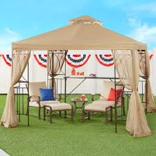 Pop Up Gazebos With Netting by 10 U0027x10 U0027 Outdoor Gazebo With Shelves And Netting Christmas Tree