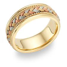 gold wedding band three color gold rings 14k tri color gold braided wedding band