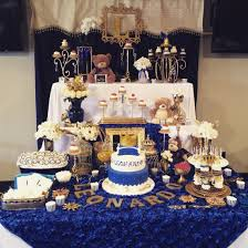 royal theme baby shower prince cake with crown royal blue and
