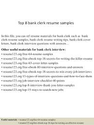 Clerical Sample Resume by Top 8 Bank Clerk Resume Samples 1 638 Jpg Cb U003d1429860498