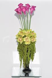 Artificial Flower Decorations For Home Tall Pink Calla Lilies U0026 Preserved Amaranthus Floral Arrangement