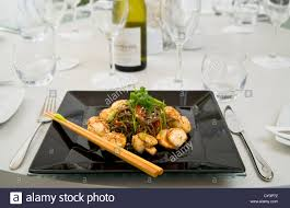 Table Place Settings by Nouvelle Cuisine Table Place Setting Restaurant Stock Photo