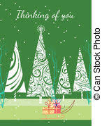 clip art vector of retro thinking of you card a card with a