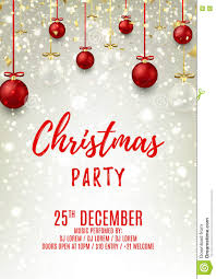 christmas party flyer with glass and red balls stock vector