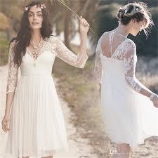 tea length wedding dresses uk discount lace knee length wedding dresses with v neck 3 4