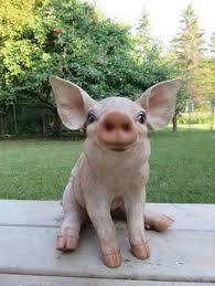 13 inch pig statue sitting oinker piglet resin garden indoor farm