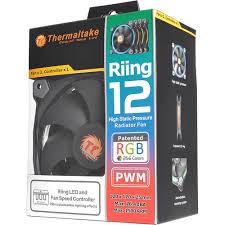 120mm rgb case fan thermaltake riing 12 rgb multi colored led cl f042 pl12sw b b h