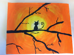 color it like you mean it cat silhouette sunsets 5th grade