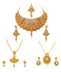 gold necklace set jewellery images Rg fashions jewellery golden necklace set for women set of 3 jpeg