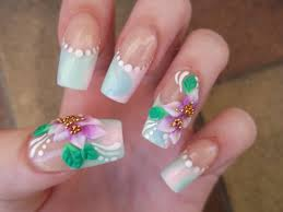 delicate pastel acrylic french manicure with 3d flowers youtube