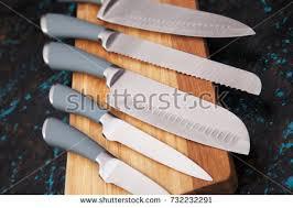 modern kitchen knives set five modern kitchen knives on stock photo 731684611
