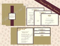 invitation pockets pocket wedding invitations square brokade burgundy classic