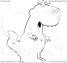 cartoon clipart of a frightened tyrannosaurus rex dinosaur