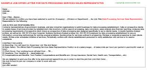 data processing services sales representative offer letter